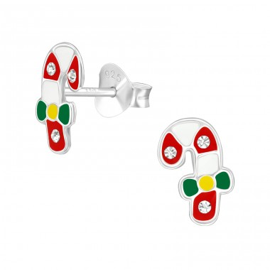 Candy Canes - 925 Sterling Silver Ear studs with crystals A4S40318