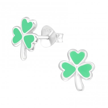 Lucky Clover - 925 Sterling Silver Ear studs with enamel colors A4S40319