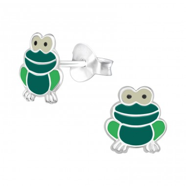 Frog - 925 Sterling Silver Ear studs with enamel colors A4S40333