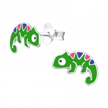 Chameleon - 925 Sterling Silver Ear studs with enamel colors A4S40345