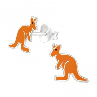 Kangaroo - 925 Sterling Silver Ear studs with enamel colors A4S40346
