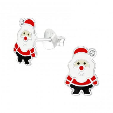 Santa Claus - 925 Sterling Silver Ear studs with crystals A4S40347