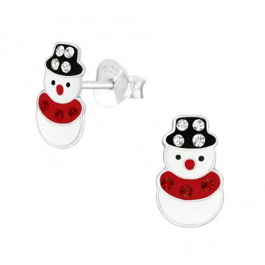 Snowman - 925 Sterling Silver Ear studs with enamel colors A4S40348