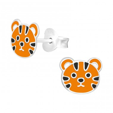 Tiger - 925 Sterling Silver Ear studs with enamel colors A4S40355