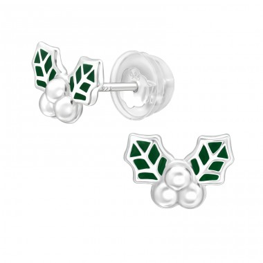 Holly Leaf - 925 Sterling Silver Plain Ear Studs A4S40380