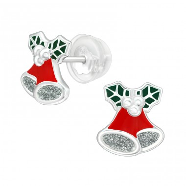 Bell Ornaments - 925 Sterling Silver Ear studs with enamel colors A4S40381
