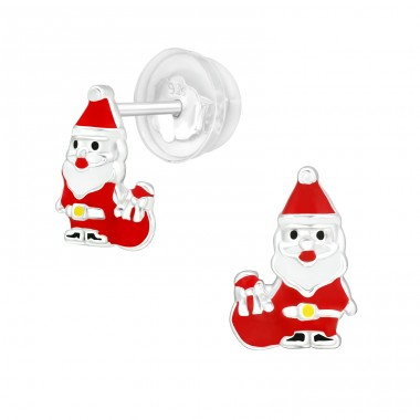 Santa Claus - 925 Sterling Silver Ear studs with enamel colors A4S40386