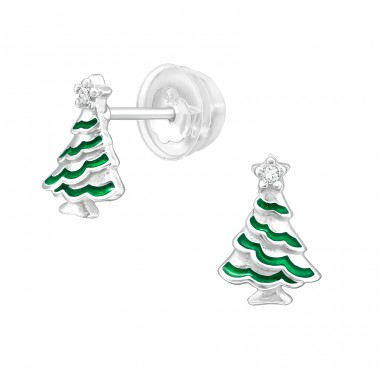 Christmas Tree - 925 Sterling Silver Ear Studs with Zirconia stones A4S40388