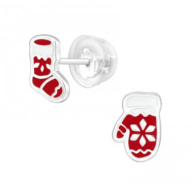 Christmas Stockings And Mittens - 925 Sterling Silver Ear studs with enamel colors A4S40392
