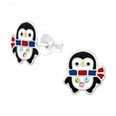 Penguin with a scarf - 925 Sterling Silver Ear Studs With Crystals A4S40507