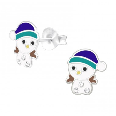 Snowman with hat - 925 Sterling Silver Ear Studs With Crystals A4S40508