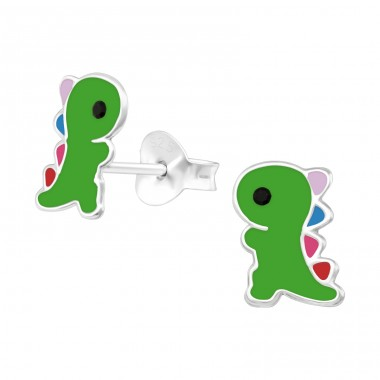Dinosaur - 925 Sterling Silver Ear studs with crystals A4S40510