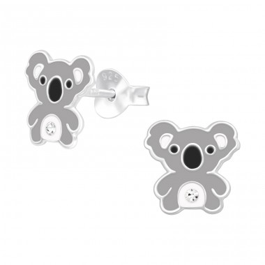 Koala with crystal - 925 Sterling Silver Ear Studs With Crystals A4S40511