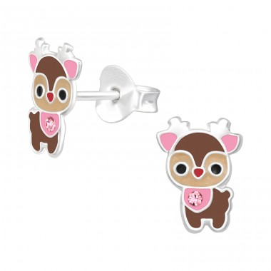 Cute Deer with crystal - 925 Sterling Silver Ear Studs With Crystals A4S40512