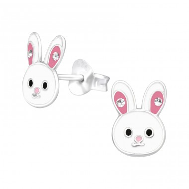 Rabbit with pink ears - 925 Sterling Silver Ear Studs With Crystals A4S40513