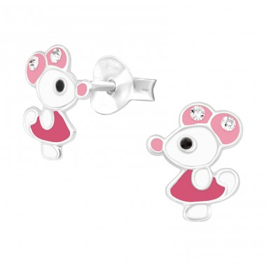 Mouse with crystal on the ears - 925 Sterling Silver Ear Studs With Crystals A4S40515