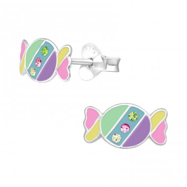 Candy - 925 Sterling Silver Ear studs with enamel colors A4S40517