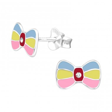 Multicolor Bowtie - 925 Sterling Silver Ear Studs With Crystals A4S40518