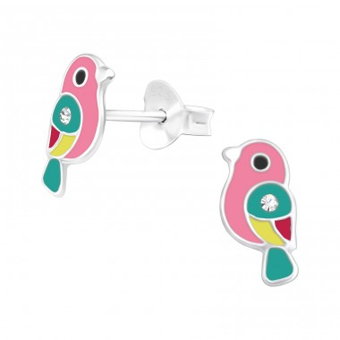 Multicolor Bird - 925 Sterling Silver Ear Studs With Crystals A4S40519