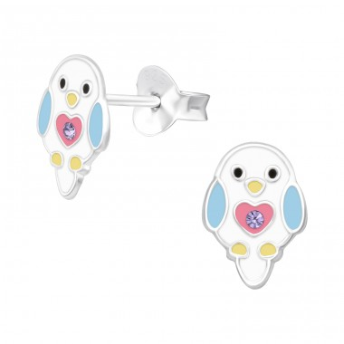 Chick with crystal - 925 Sterling Silver Ear Studs With Crystals A4S40520