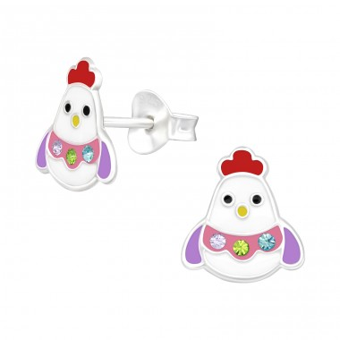 Chick - 925 Sterling Silver Ear studs with crystals A4S40521