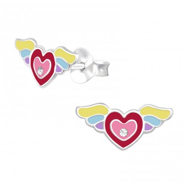 Heart with wings - 925 Sterling Silver Ear Studs With Crystals A4S40525