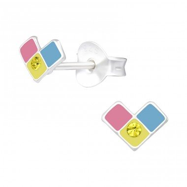 3 Squares Heart - 925 Sterling Silver Ear Studs With Crystals A4S40528