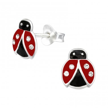 Red and Black Ladybug - 925 Sterling Silver Ear Studs With Crystals A4S40647