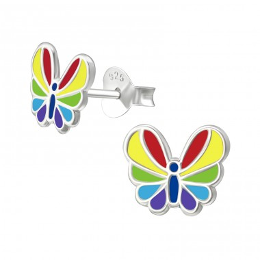 Butterfly - 925 Sterling Silver Ear studs with enamel colors A4S40650