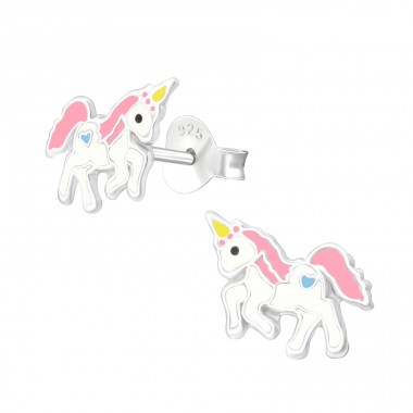 Unicorn - 925 Sterling Silver Ear studs with enamel colors A4S40671