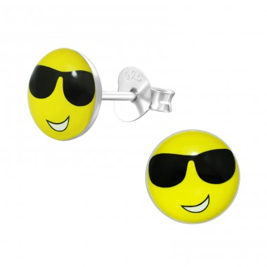 Cool smiley Face emoji - 925 Sterling Silver Ear Studs With Enamel Colors A4S40678