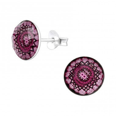 Round Flower pattern - 925 Sterling Silver Ear Studs With Enamel Colors A4S41064