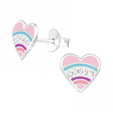Pink Heart with crystals - 925 Sterling Silver Ear Studs With Crystals A4S41102