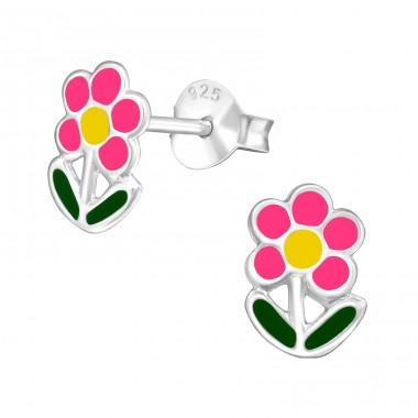 Flower - 925 Sterling Silver Ear studs with enamel colors A4S41123