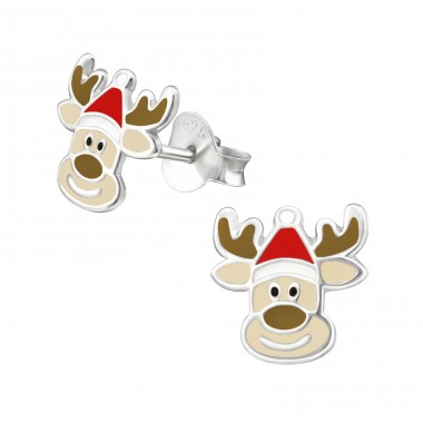 Reindeer - 925 Sterling Silver Ear studs with enamel colors A4S41124
