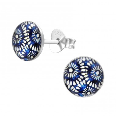 Boho - 925 Sterling Silver Ear studs with enamel colors A4S41125
