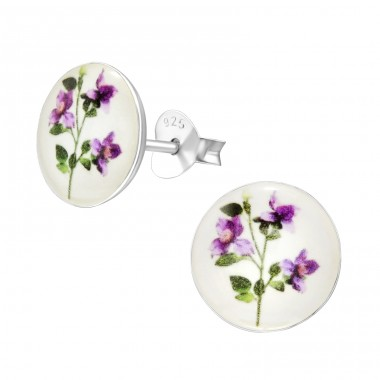 Flower - 925 Sterling Silver Ear studs with enamel colors A4S41126