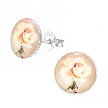Rose Flower - 925 Sterling Silver Ear studs with enamel colors A4S41127