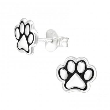 Paw Print - 925 Sterling Silver Ear Studs for kids A4S41455