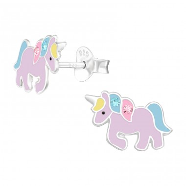 Purple Unicorn with crystals - 925 Sterling Silver Ear Studs With Crystals A4S41456