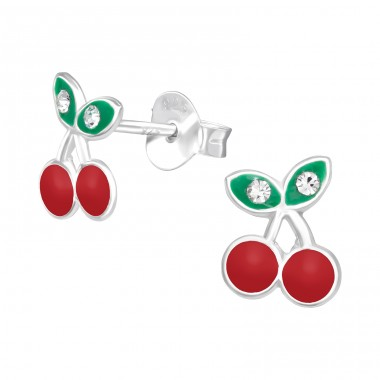 Cherry - 925 Sterling Silver Ear studs with enamel colors A4S41457