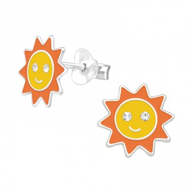 Sun - 925 Sterling Silver Ear studs with crystals A4S41498