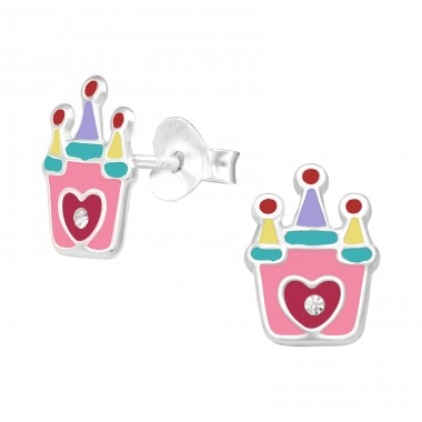 Castle - 925 Sterling Silver Ear studs with crystals A4S41499