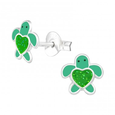 Turtle - 925 Sterling Silver Ear studs with enamel colors A4S41502