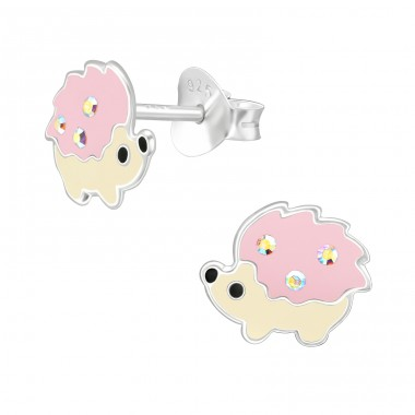 Hedgehog - 925 Sterling Silver Ear studs with enamel colors A4S41504