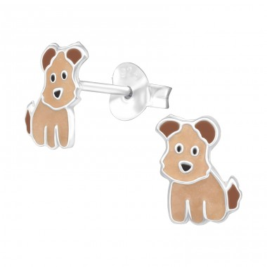 Dog - 925 Sterling Silver Ear studs with enamel colors A4S41510