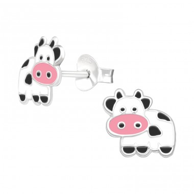 Cow - 925 Sterling Silver Ear studs with enamel colors A4S41511