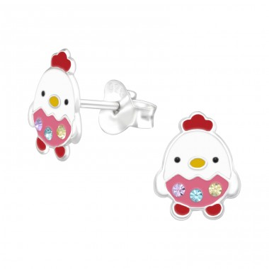 Chicken - 925 Sterling Silver Ear studs with crystals A4S41514