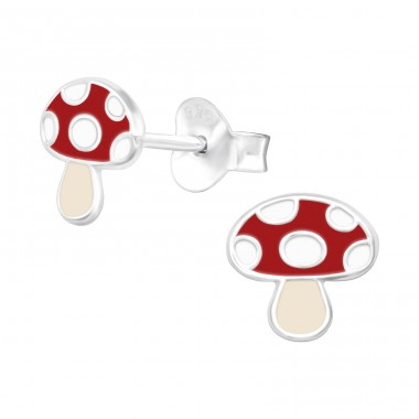Mushroom - 925 Sterling Silver Ear Studs With Enamel Colors A4S41517