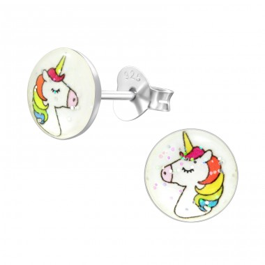 Unicorn - 925 Sterling Silver Ear studs with enamel colors A4S41637